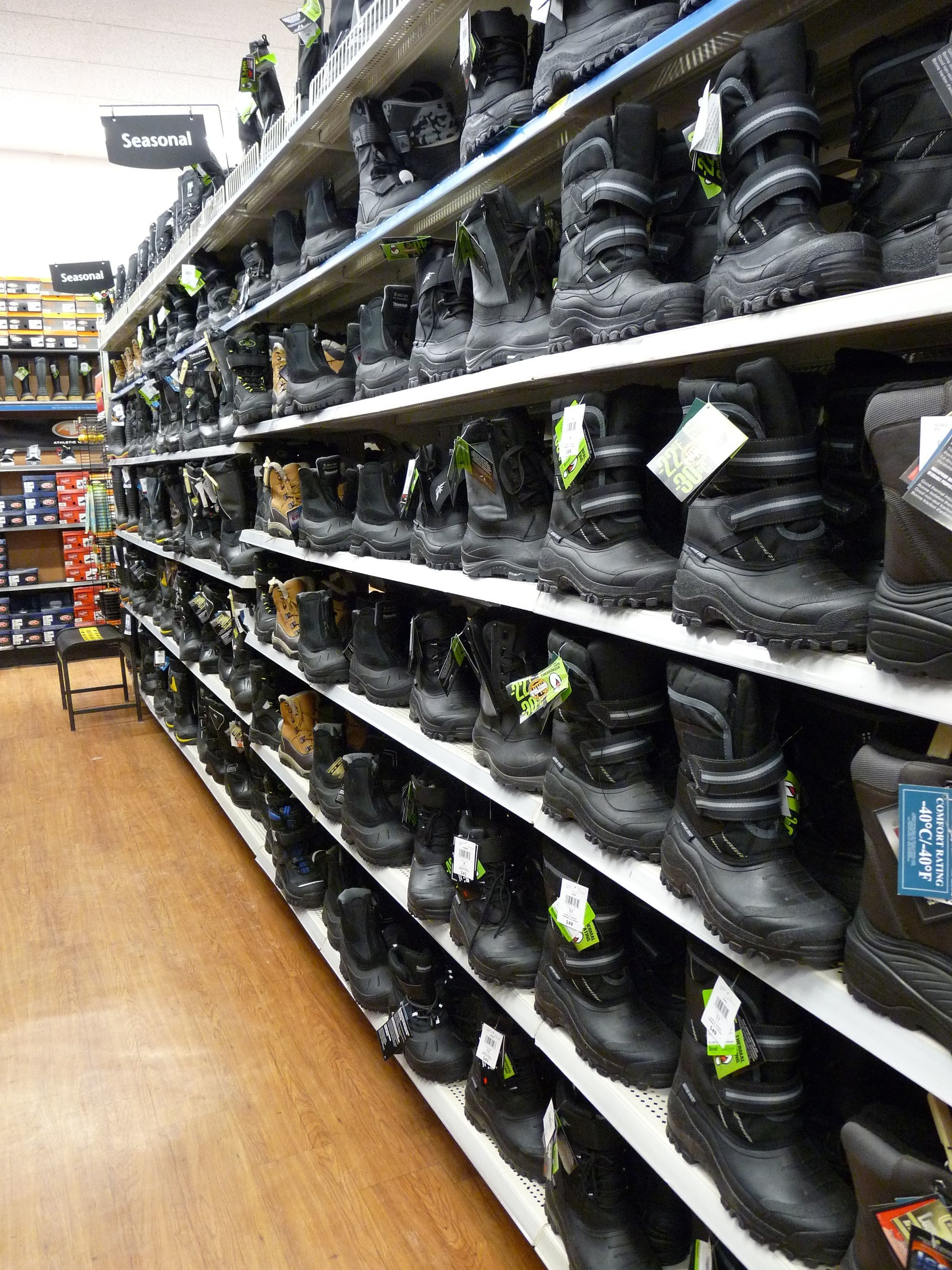 Heavy duty winter boots for sale at the Walmart, Thompson, Manitoba