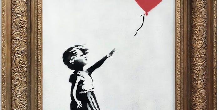 Girl With Balloon, pre-shred