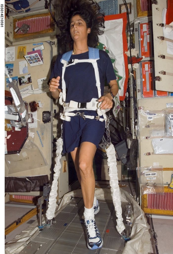 Space exercise on the International Space Station.