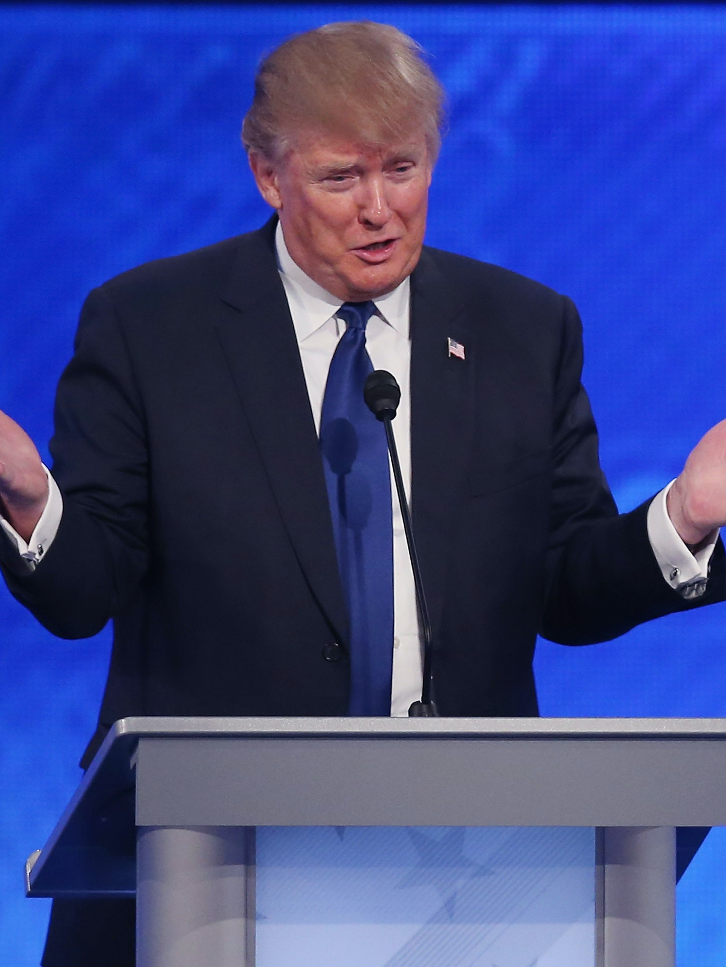 MANCHESTER, NH - FEBRUARY 06:  Republican presidential candidate Donald Trump participates in the Republican presidential debate at St. Anselm College February 6, 2016 in Manchester, New Hampshire. Sponsored by ABC News and the Independent Journal Review, this is the final televised debate before voters go to the polls for the New Hampshire primary on February 9.  (Photo by Joe Raedle/Getty Images)