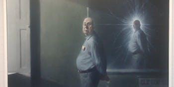 Peter Higgs portrait by Ken Currie at the JCMB, University of Edinburgh @UniofEdinburgh