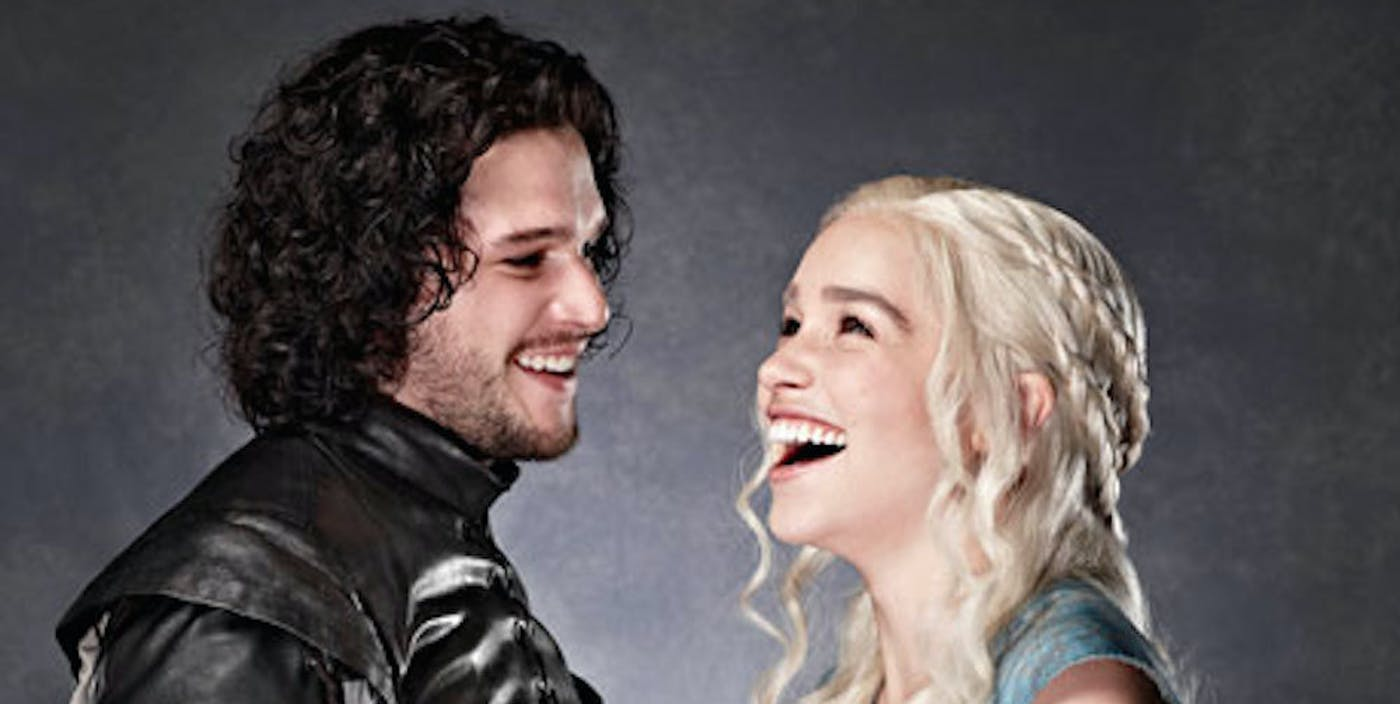 Kit Harington and Emilia Clarke on 'Game of Thrones'