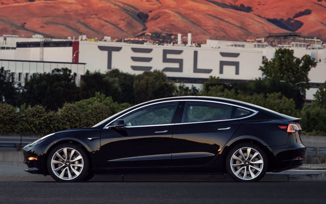 The first production line Tesla Model 3.