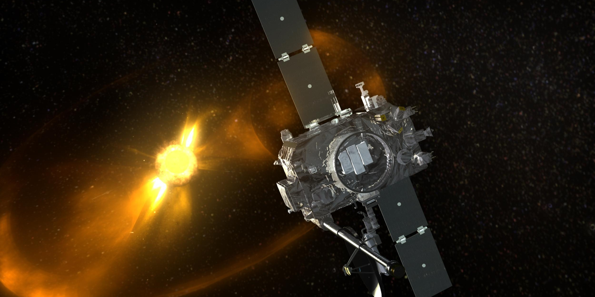 Artist's depiction of the STEREO spacecraft.