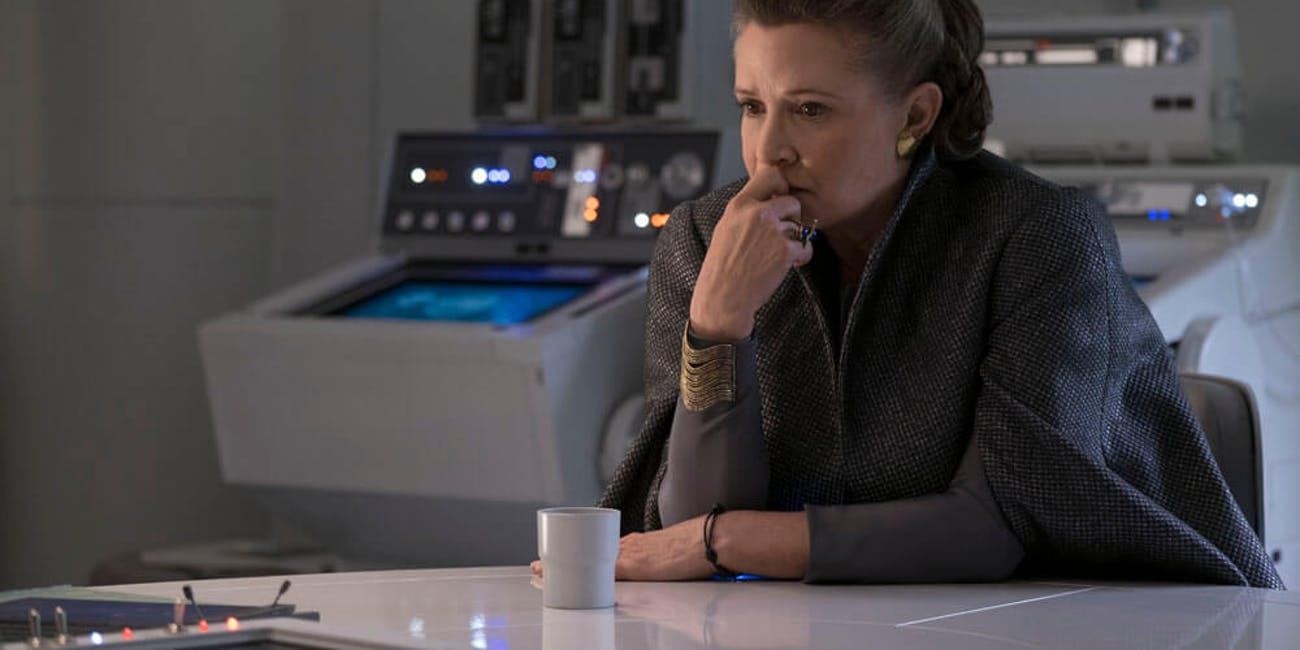 Carrie Fisher as General Leia in a deleted scene for 'The Last Jedi'