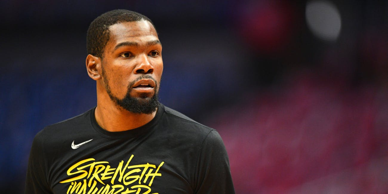 Golden State Warriors Forward Kevin Durant (35) looks on before game four of the first round of the 2019 NBA Playoffs between the Golden State Warriors and the Los Angeles Clippers on April 21, 2019 at Staples Center in Los Angeles, CA.