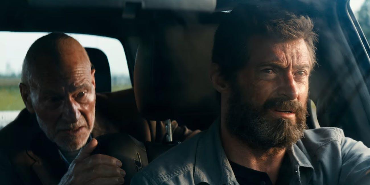 Patrick Stewart and Hugh Jackman as Professor X and Logan in 'Logan'