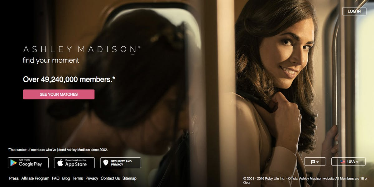 Ashley Madison's new homepage.