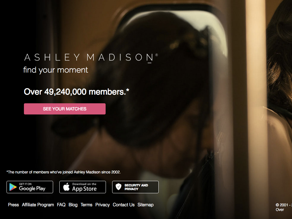 Ashley Madison's new homepage.