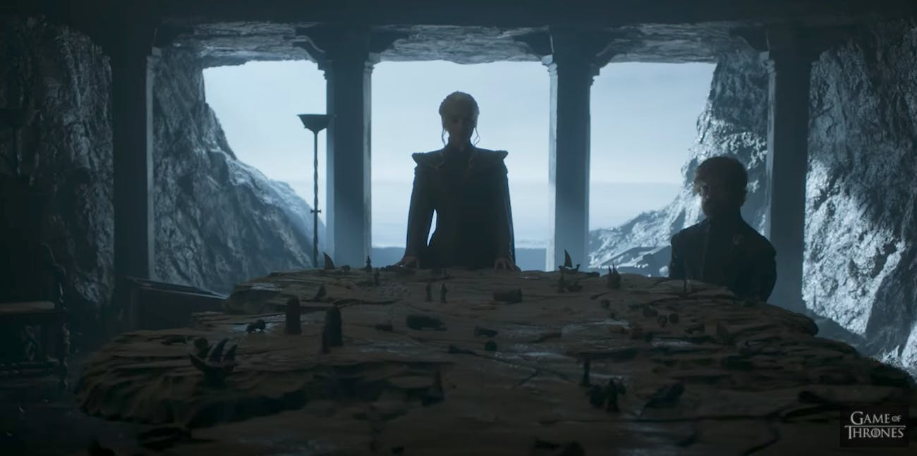 Dany and Tyrion in the Chamber of the Painted Table on Dragonstone.