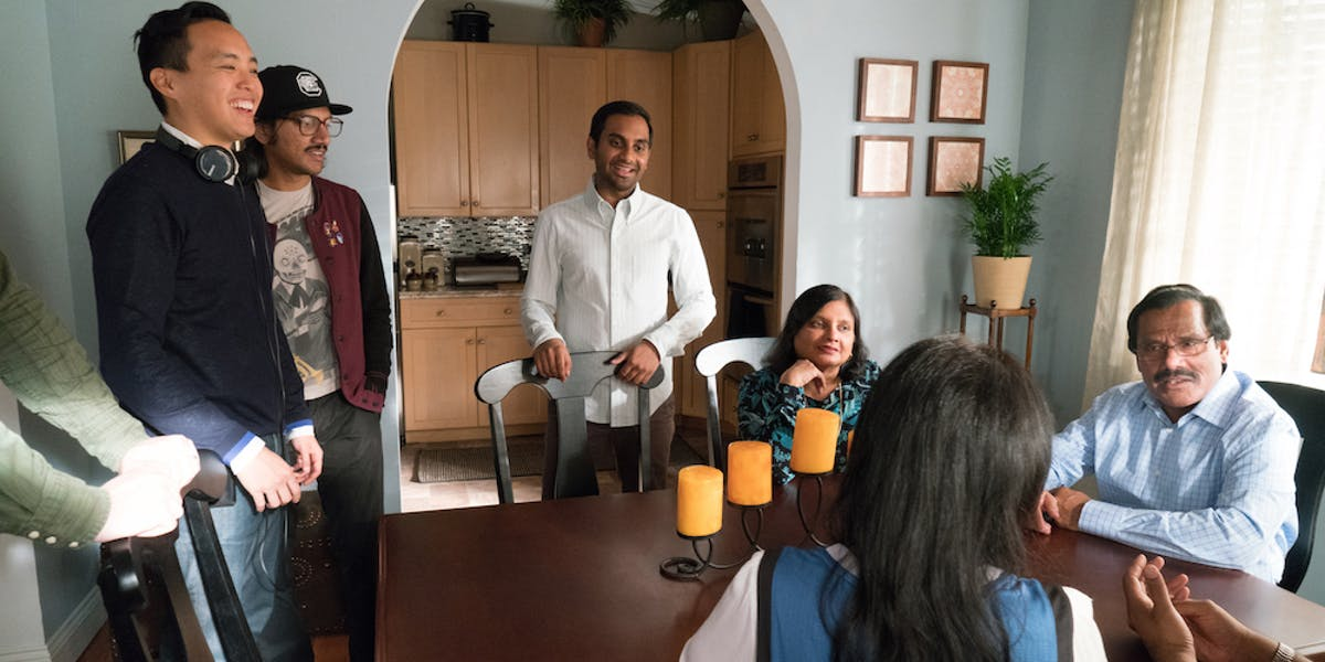 "Behind the scenes of ""Religion"" with Aziz Ansari's parents."