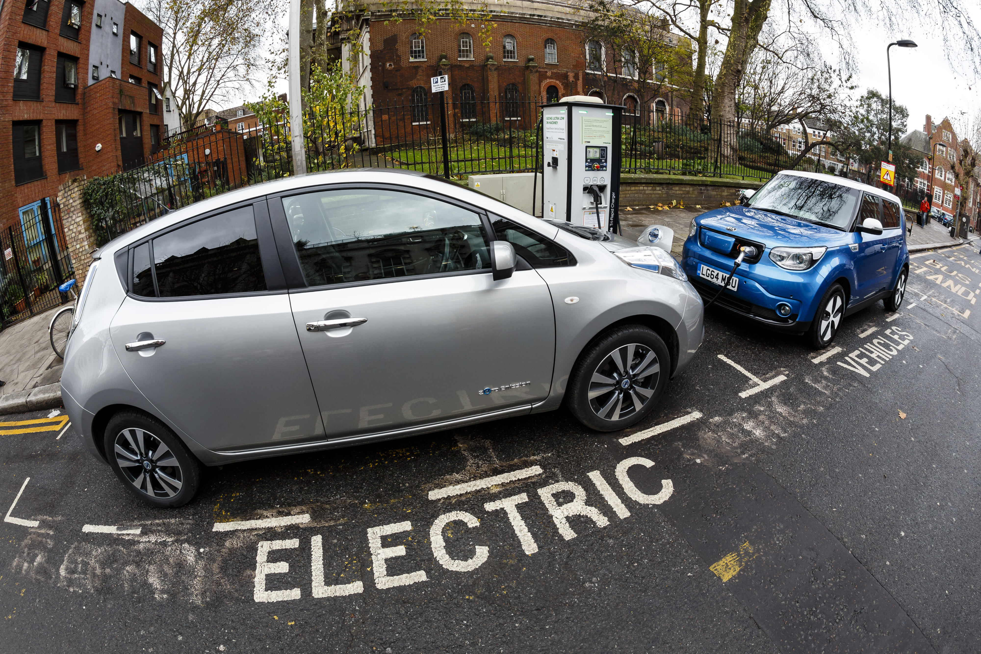 An electric car charging spot on a street in London.