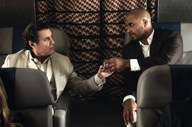 Ian McShane as Wednesday and Ricky Whittle as Shadow in 'American Gods'