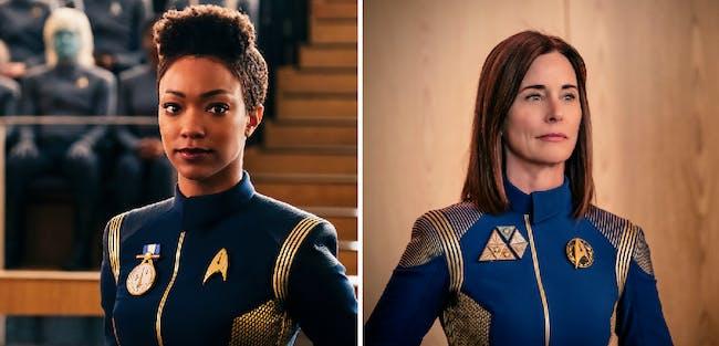 Sonequa Martin- Green as Commander Michael Burnham and Jayne Brook as Admiral Cornwell in the season one finale of 'Star Trek: Discovery'