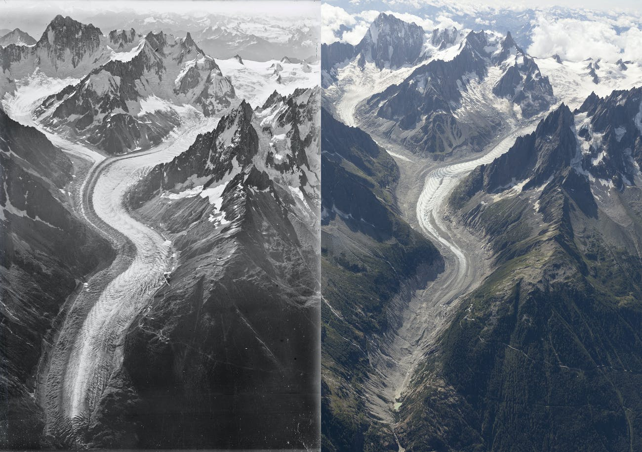 two photos of the same ice-covered mountain, with less ice on the right side