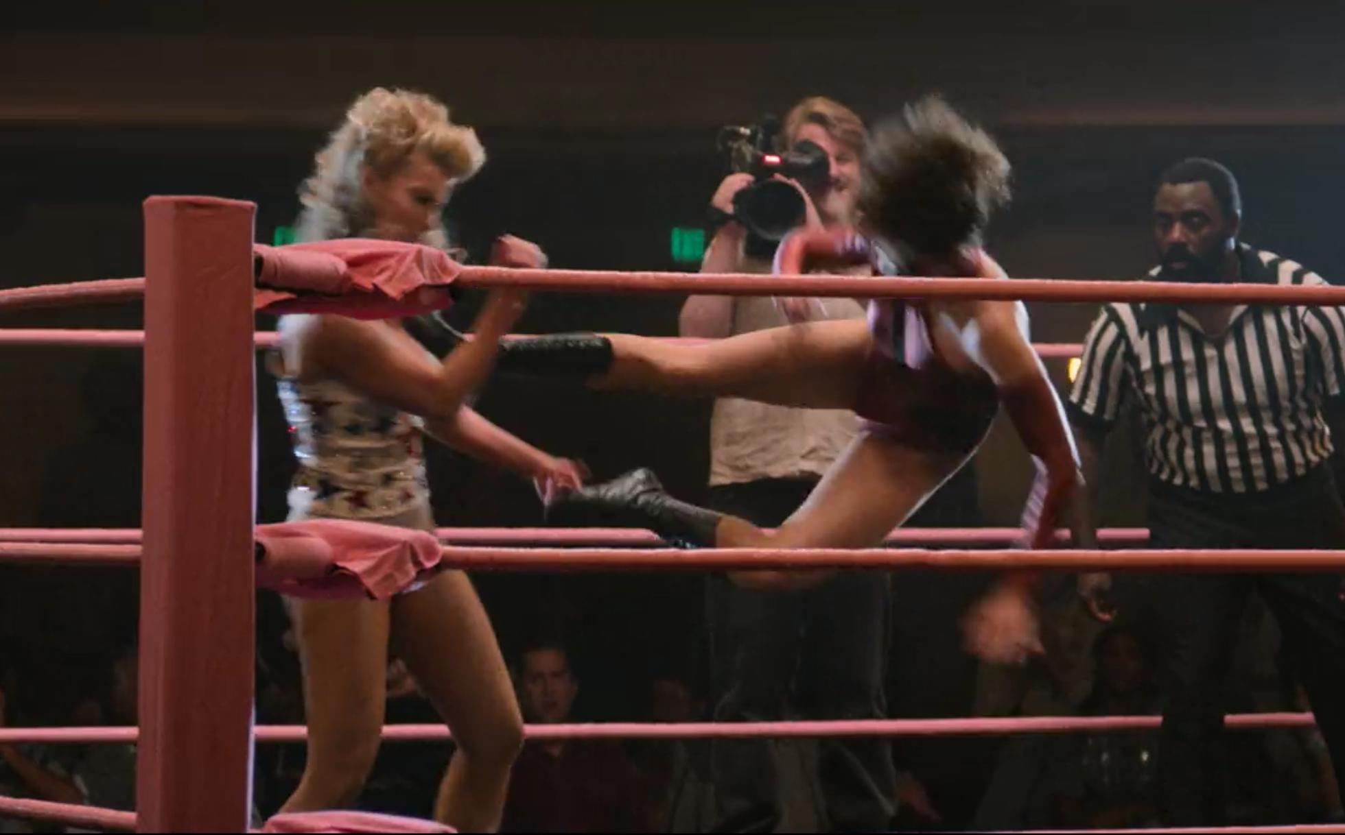 Female wrestling sleeper hold
