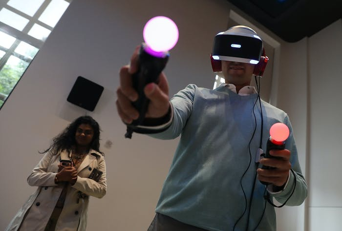 High-end headsets support motion controllers, giving an approximation of the user's hands in the virtual world.
