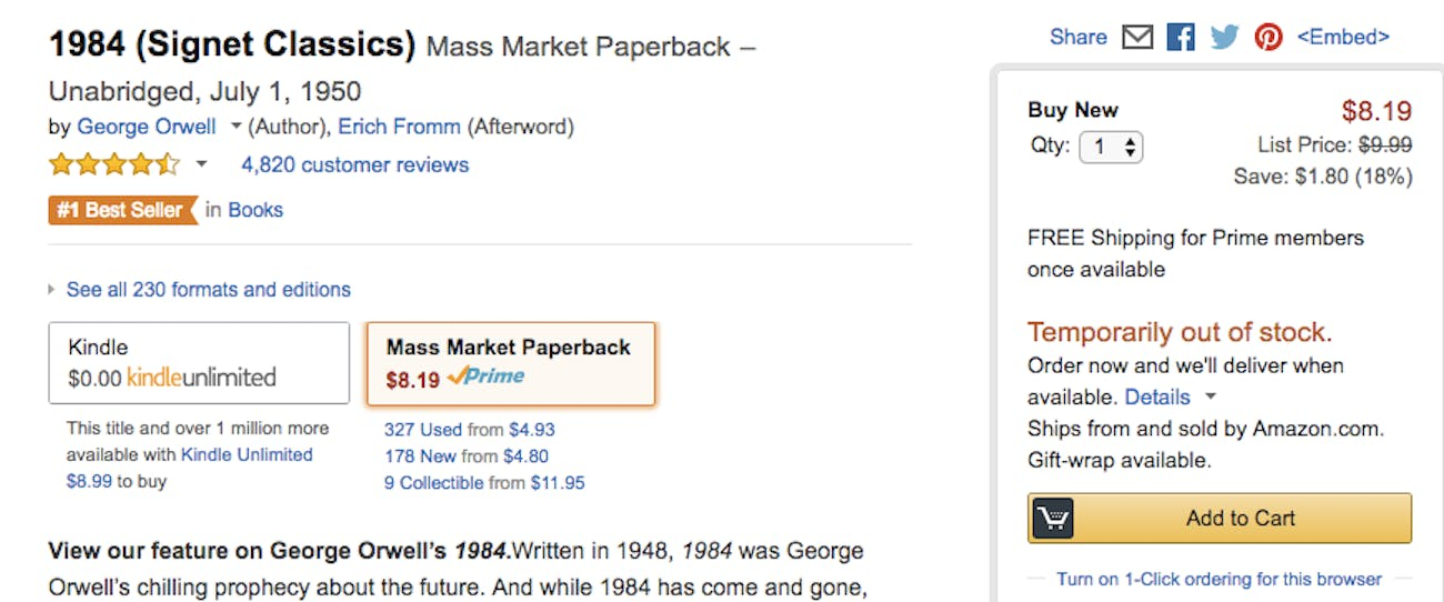 How to Buy a Copy of George Orwell's '1984' Right Now | Inverse
