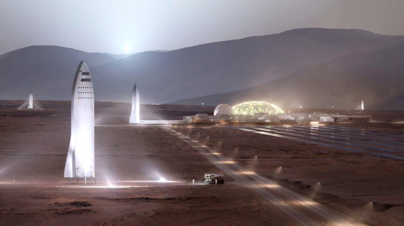 Rockets refilling on Mars.
