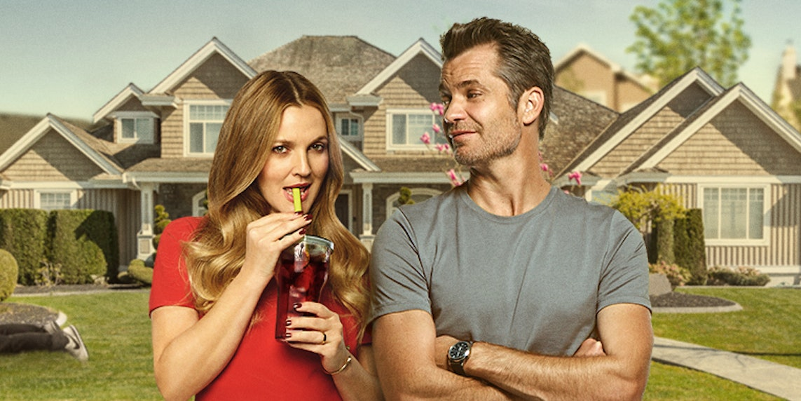 Drew Barrymore and Timothy Olyphant in Netflix's new Zombie show 'Santa Clarita Diet'