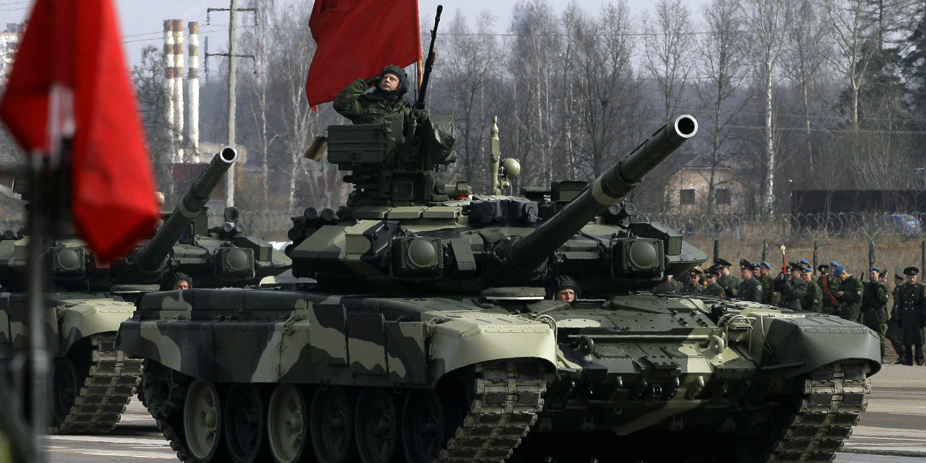 Armoured vehicles are paraded during a Victory Day parade rehearsal on April 24, 2009 in Alabino, outside Moscow, Russia. On May 9, 2009 Russia will mark the 64th anniversary of the Soviet Union's victory over Nazi Germany in World War Two.