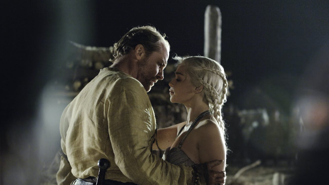dany jorah kiss game of thrones hbo