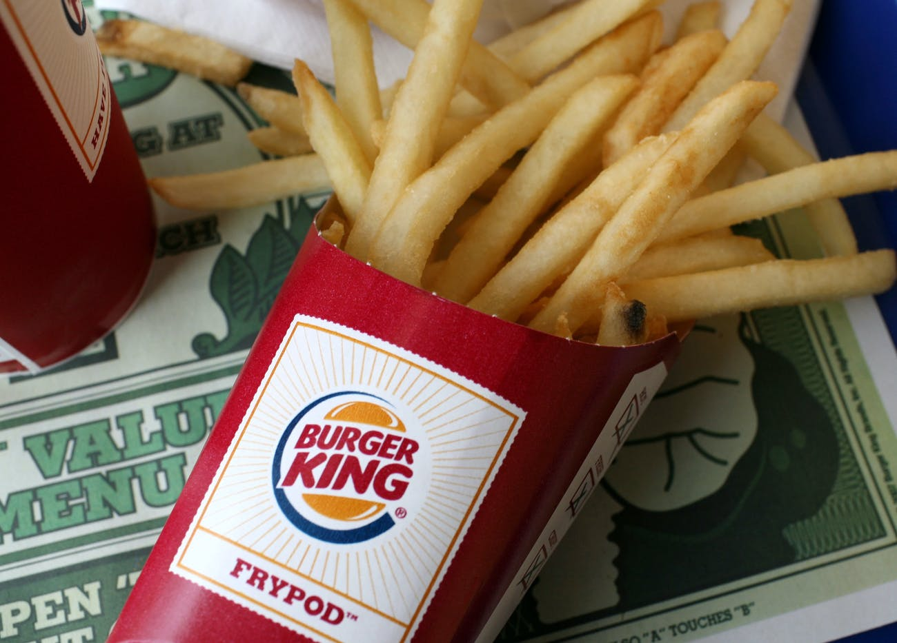 SAN FRANCISCO - AUGUST 21: A container of Burger King french fries sit on a tray at a Burger King restaurant August 21, 2008 in San Francisco, California. Burger King, the second largest hamburger chain in the U.S., surprised Wall Street today with better than excected quarterly earnings. The company reported a surge in net income with earnings of $51 million, or 37 cents per share compared to $36 million, or 26 cents per share one year ago. (Photo by Justin Sullivan/Getty Images)