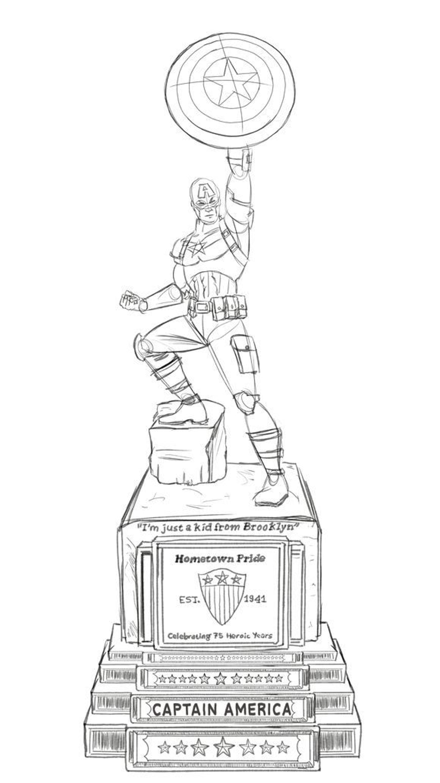 A rendering of the statue, which has a lot of stars on it.