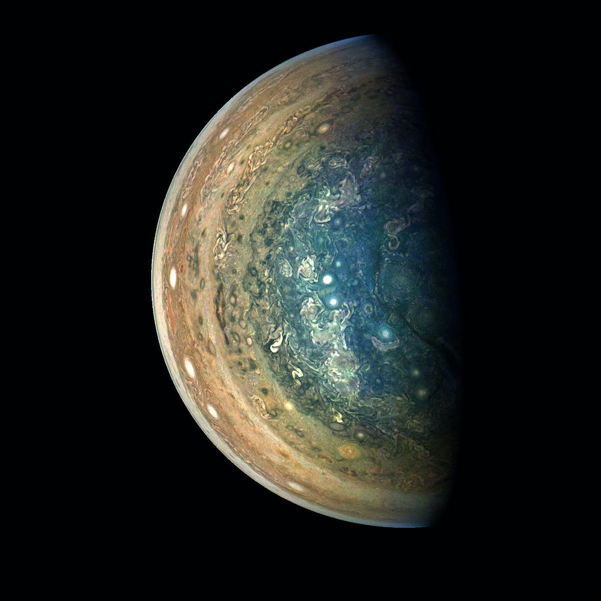 Jupiter's South Pole is Stunning in Newly Edited NASA Picture