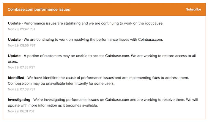Coinbase's status updates.
