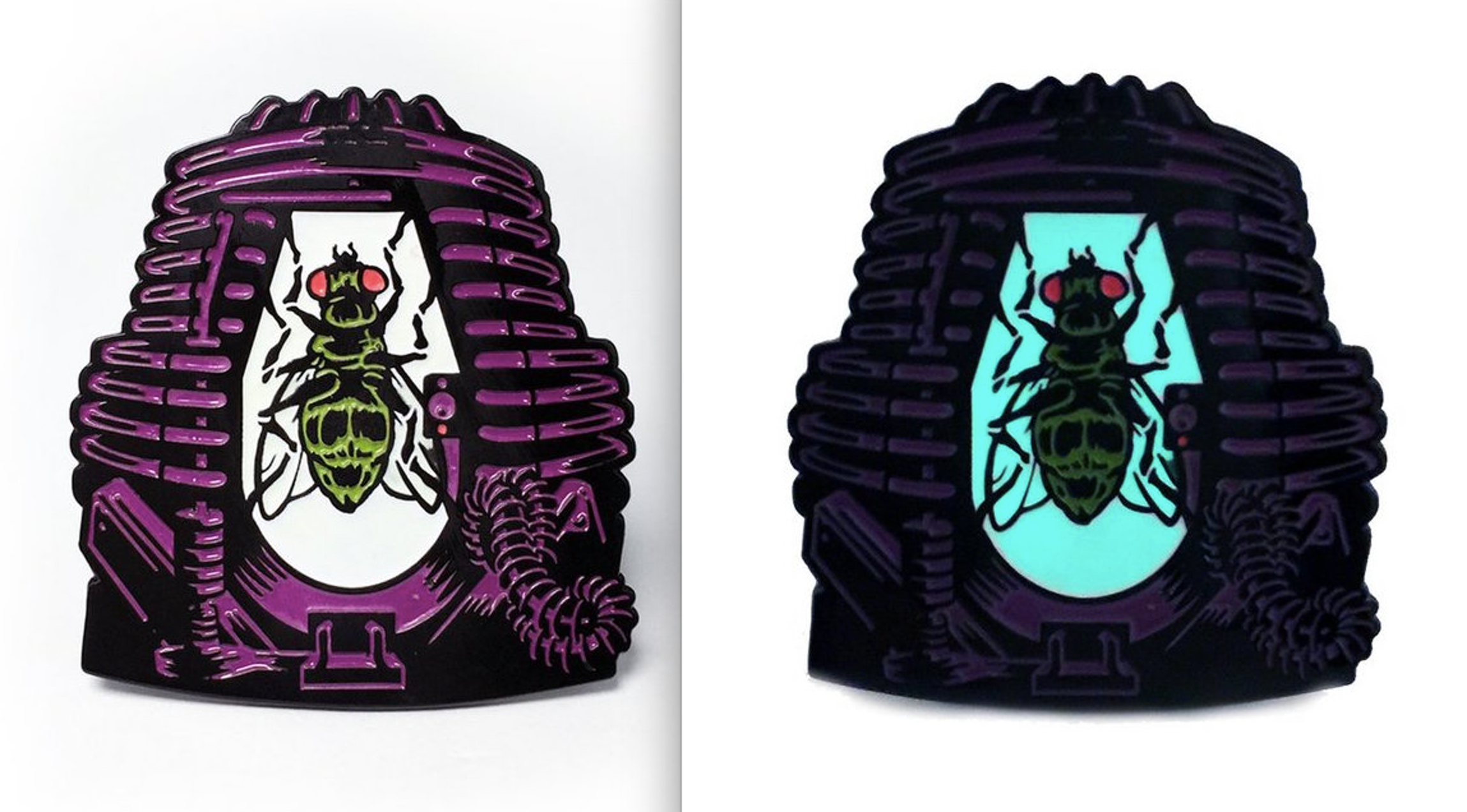 """Creepy Co.'sglow-in-the-dark """"Telepod"""" pin based on David Cronenberg's 'The Fly.'"""