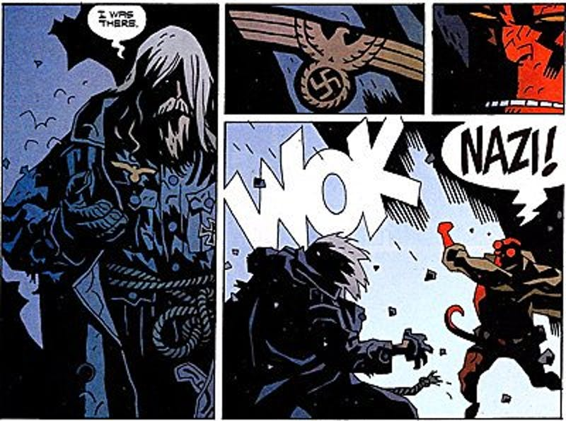 Hellboy punches a Nazi