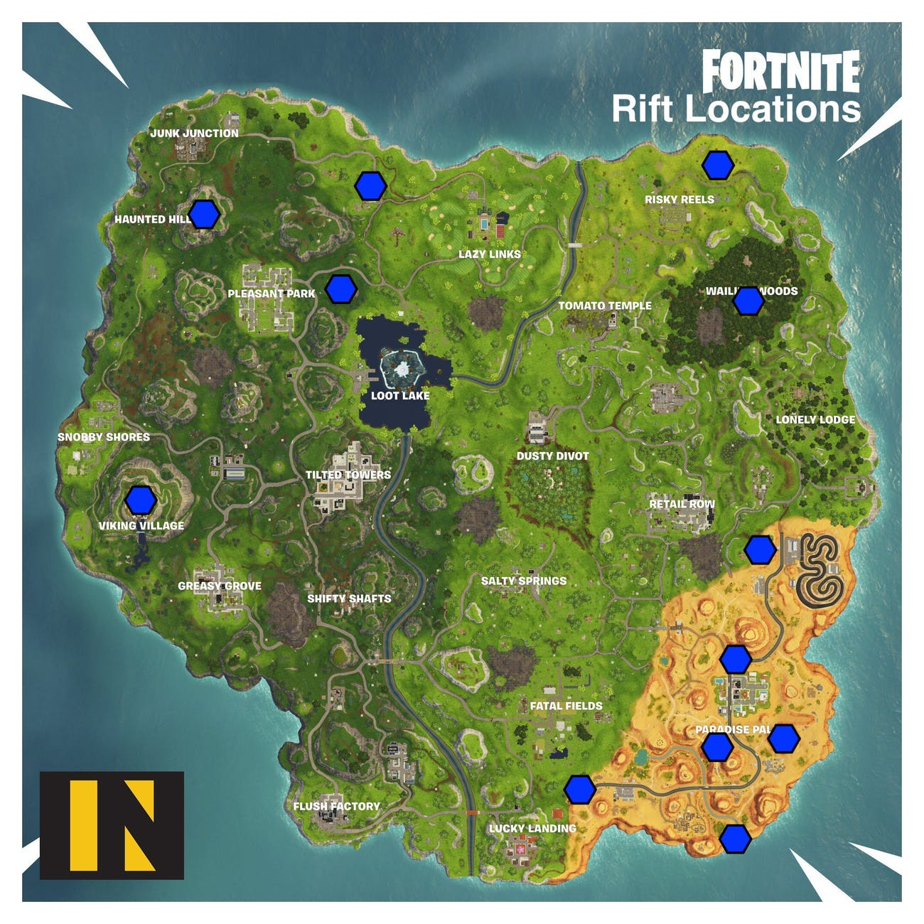 fortnite rift locations season 6 map shows where all the portals