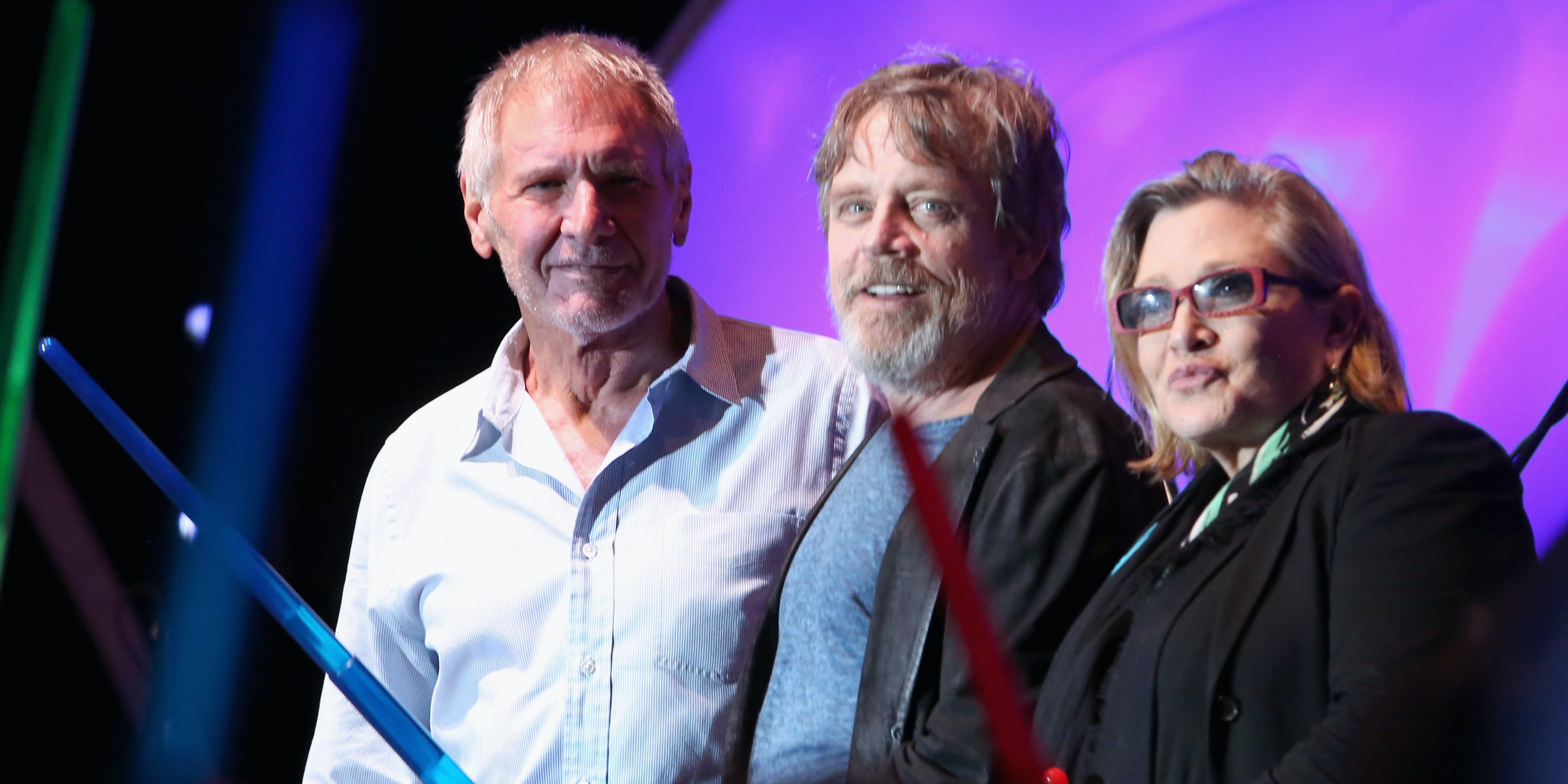 Carrie Fisher with her Star Wars co-stars Harrison Ford and Mark Hamill.
