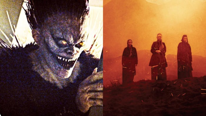 Willem Defoe as Ryuk in Netflix's 'Death Note' (2017) and Seylan Baxter, Lynn Kennedy, and Kayla Fallon as three of the Witches in 'Macbeth' (2015)