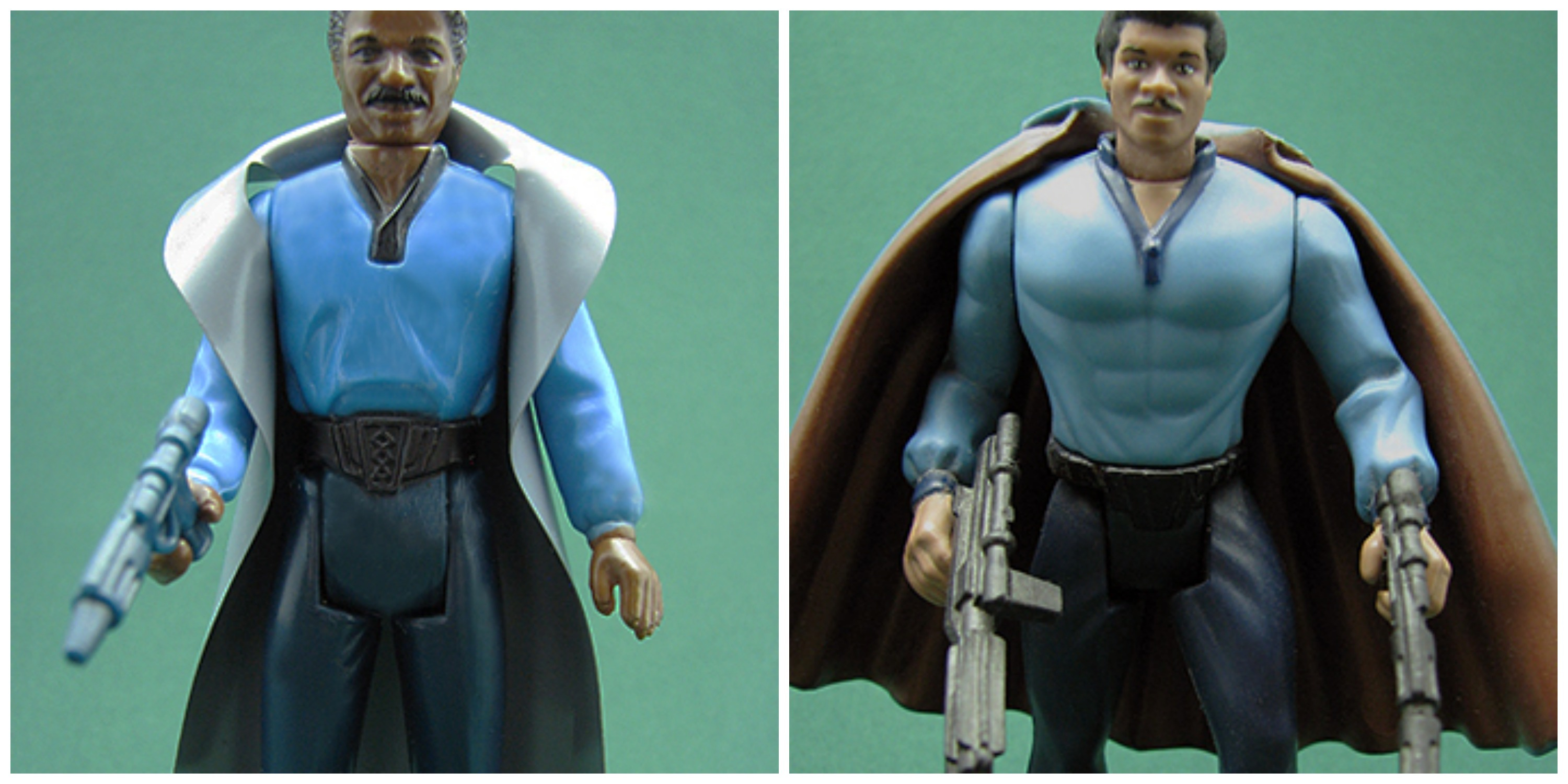 LEFT: Classic 1980 Lando figure RIGHT: Pumped-up Lando from the 90s