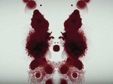 blood inkblot test face woman Rorschach