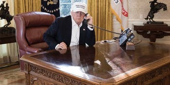 Donald Trump appears in this staged photo on January 20, 2018 during the shutdown of the federal government.