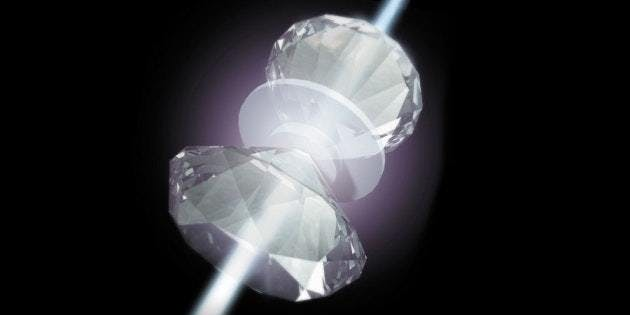 An artist's rendering of metallic hydrogen sandwiched in a diamond vise.