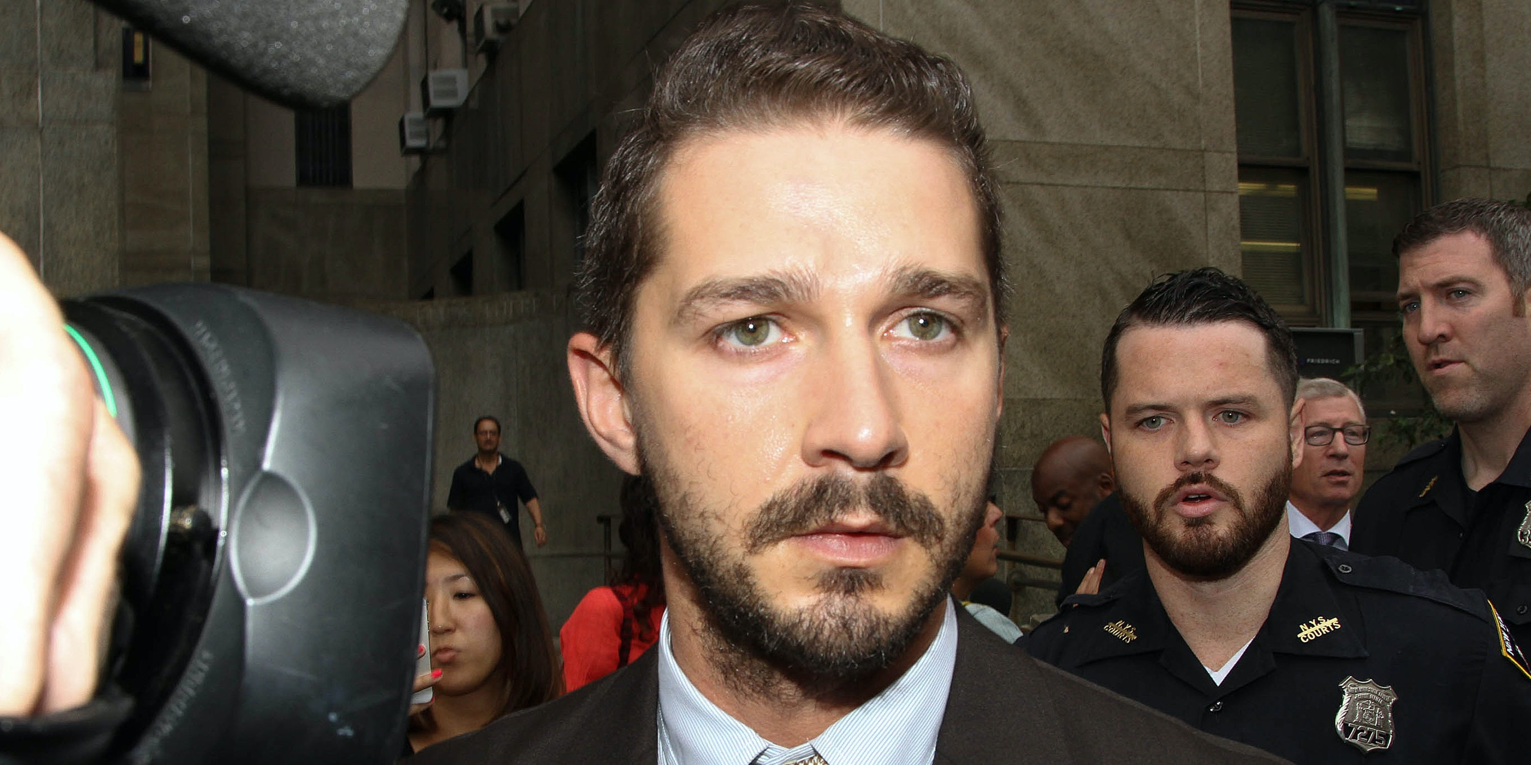 Shia LaBeouf leaves criminal court on July 24, 2014 in New York City.