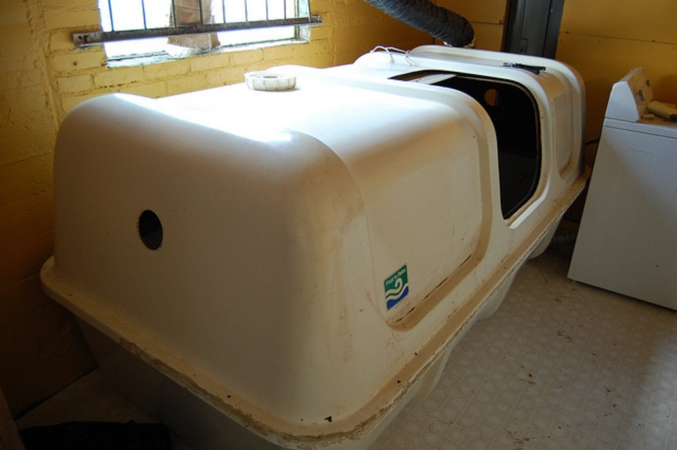 A sensory deprivation chamber.