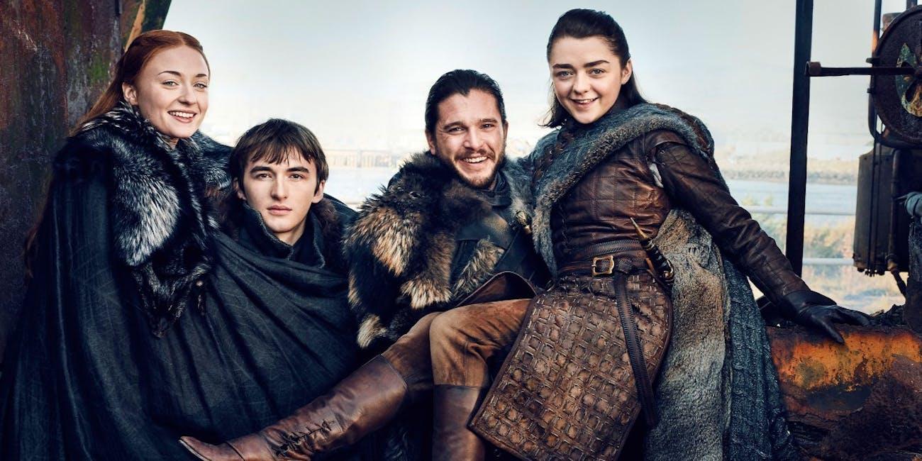 Sophie Turner, Isaac Hempstead-Wright, Kit Harington, and Maisie Williams in 'Game of Thrones' Season 7