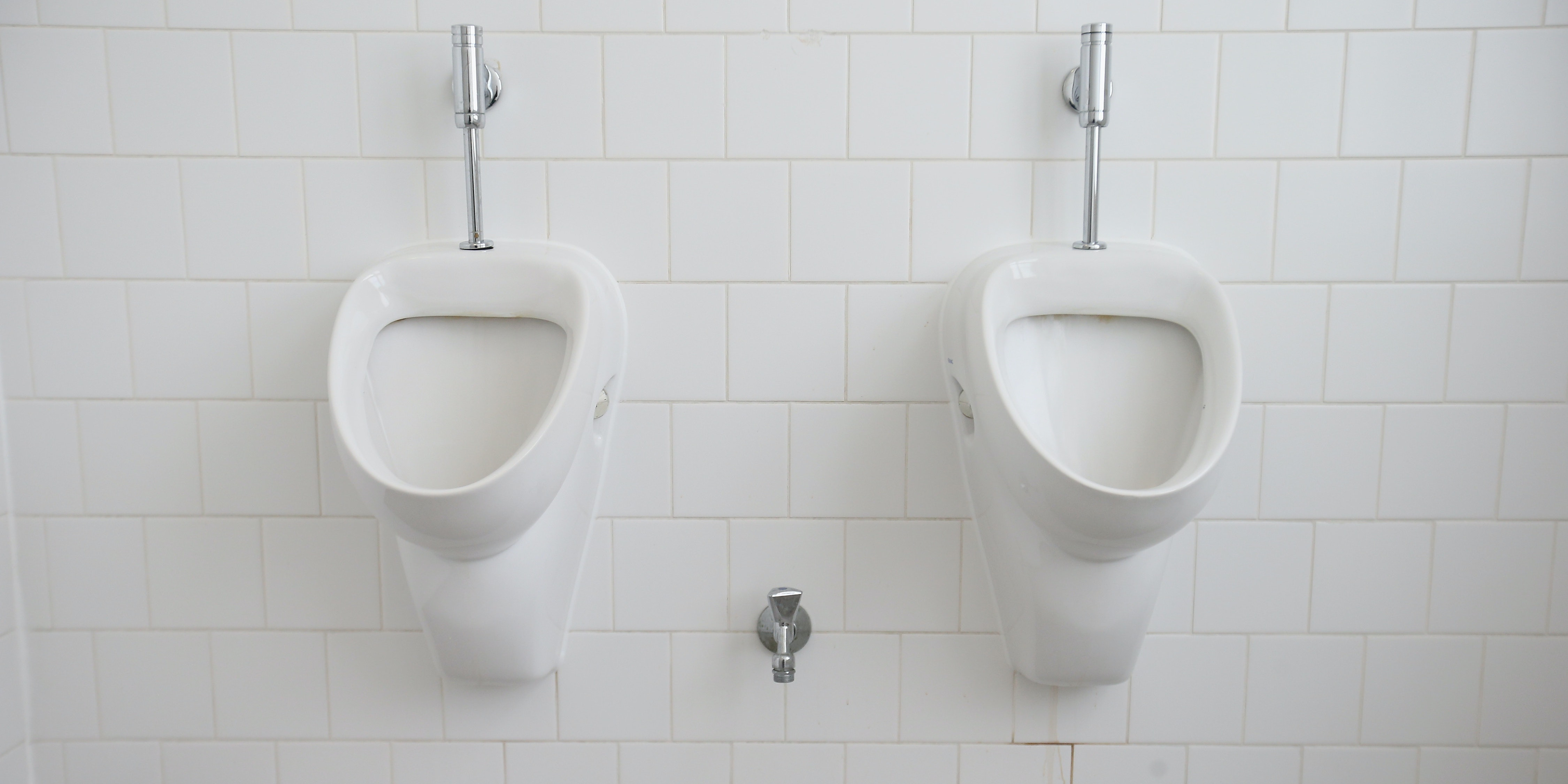 A pair of boring, non hands-free penis-washing urinals.