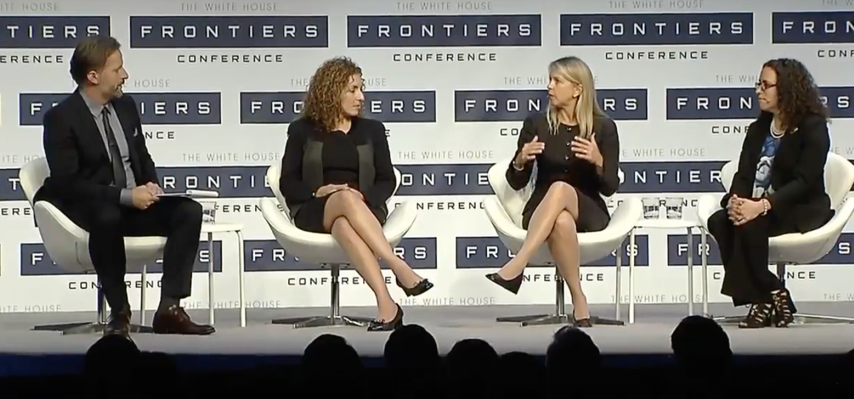 From left to right: Moderator Robert Capps of 'Wired' magazine; Anousheh Ansari, CEO and Co-Founder of Prodea Systems, Inc.; Dava Newman, Deputy Administrator at NASA; and Erika Wagner, Business Development Manager at Blue Origin.