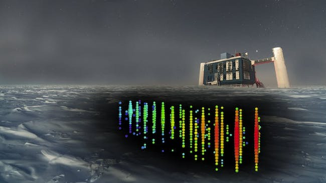 The IceCube Neutrino Observatory used one cubic kilometer of crystal clear Antarctic ice to capture the signal of a rare neutrino that has helped locate a galaxy four billion light-years distant with a supermassive black hole close to a beam of photons and particles the speed of light directly in our solar system triggers.