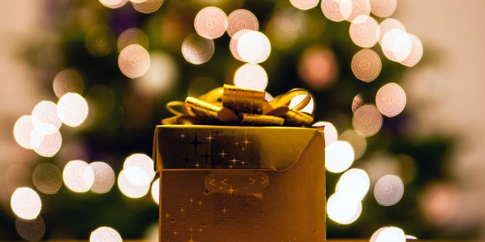 Wrapped Gift with Bokeh Background
