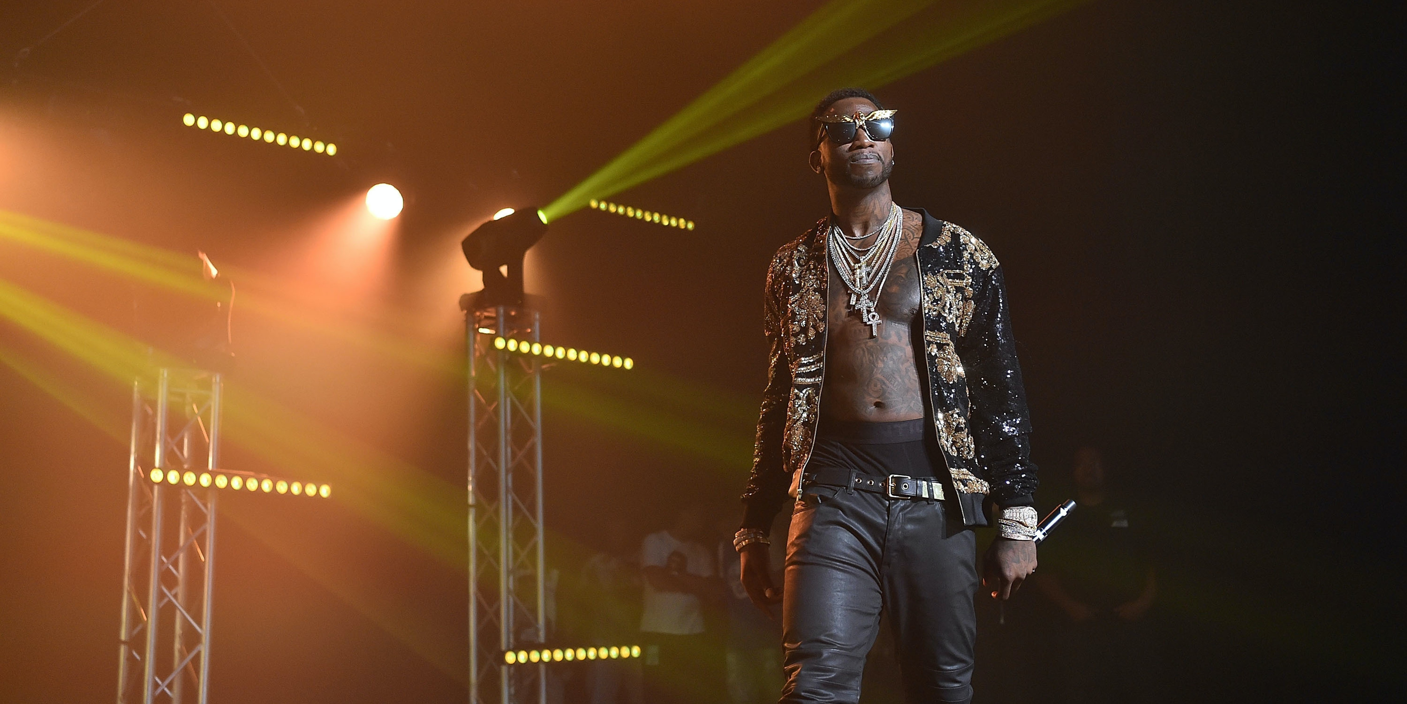 ATLANTA, GA - JULY 22:  Gucci Mane performs on stage at Gucci and Friends Homecoming Concert at Fox Theatre on July 22, 2016 in Atlanta, Georgia.  (Photo by Paras Griffin/Getty Images for Atlantic Records)