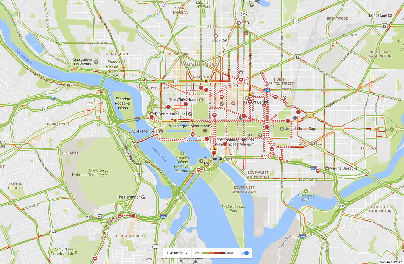On Google Maps this morning you can see the road closings (the little minus symbols) around the capitol.