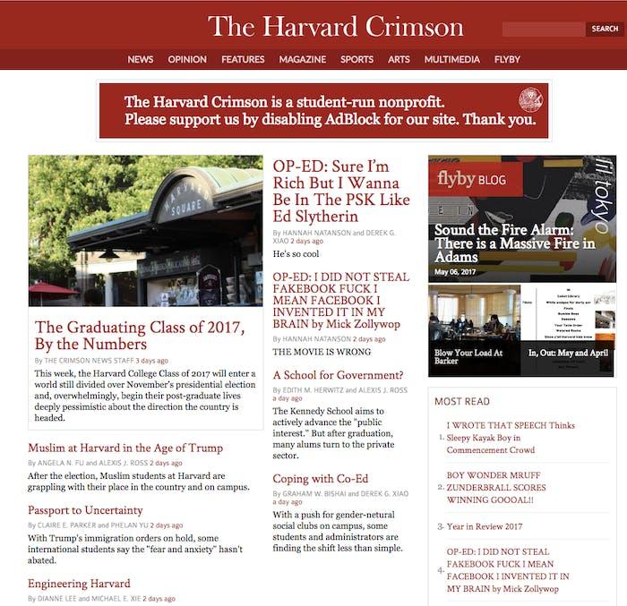 Harvard Crimson website hacked to troll Mark Zuckerberg before commencement speech.