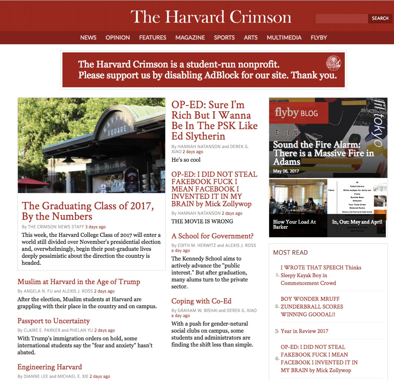 Harvard Crimson website hacked to troll Mark Zuckerberg before commencement speech.